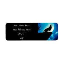 Howlin wolf - wolf art - moon wolf - wild wolf label