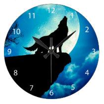 Howlin wolf - wolf art - moon wolf - wild wolf large clock
