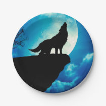 Howlin wolf - wolf art - moon wolf - wild wolf paper plate