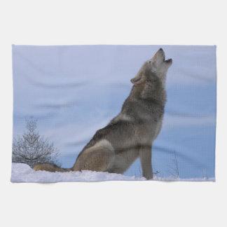 Howling Alaskan Timber Wolf Hand Towel