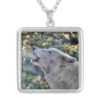 Howling Alpha Male Arctic Wolf Wildlife Gift Silver Plated Necklace