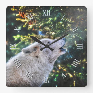 Howling Arctic Grey Wolf Photo Portrait Square Wall Clock