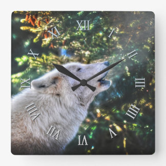 Howling Arctic Grey Wolf Portrait II Square Wall Clock