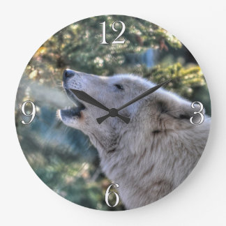 Howling Arctic Grey Wolf Portrait Large Clock