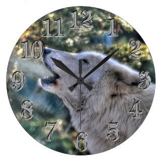 Howling Arctic Grey Wolf Portrait Large Clock