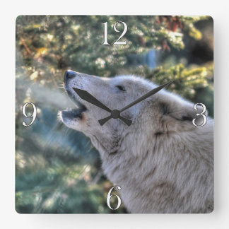 Howling Arctic Grey Wolf Portrait Square Wall Clock