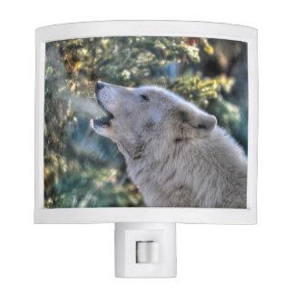 Howling Arctic Grey Wolf Wildlife Photo Night Light