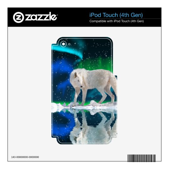 Howling Arctic Wolf Arctic Aurora & Moon Decal For iPod Touch 4G