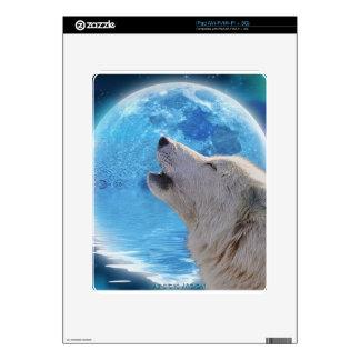 Howling Arctic Wolf Arctic Aurora & Moon iPad Decals