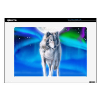 Howling Arctic Wolf Arctic Aurora & Moon Laptop Decals
