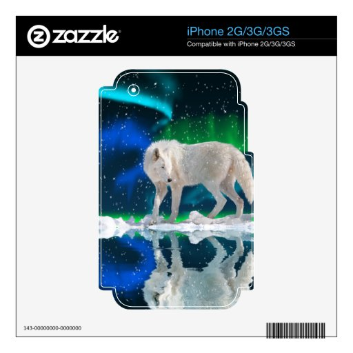 Howling Arctic Wolf Arctic Aurora & Moon Skin For iPhone 2G
