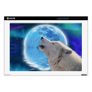 "Howling Arctic Wolf Arctic Aurora & Moon Skin For 17"" Laptop"
