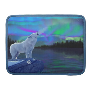 Howling Arctic Wolf Art Wildlife MacBook Flap Case MacBook Pro Sleeve