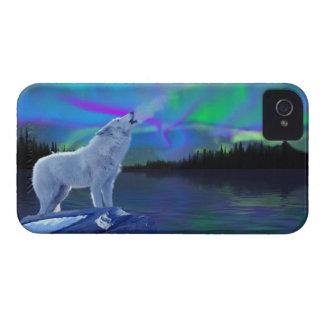 Howling Arctic Wolf & Aurora Art Blackberry Case