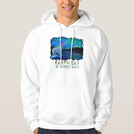 Howling Arctic Wolf & Aurora Earth Day Art Hoodie