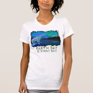 Howling Arctic Wolf & Aurora Earth Day Art Shirt