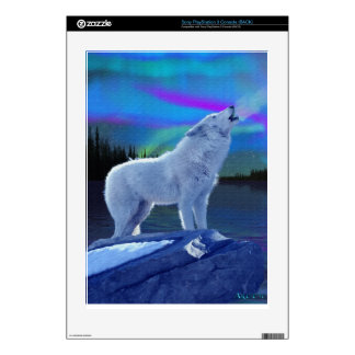 Howling Arctic Wolf & Aurora Playstation 3 Skin Decals For The PS3