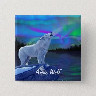 Howling Arctic Wolf & Aurora Wildlife Art Badge Pinback Button