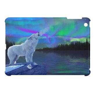 Howling Arctic Wolf & Aurora Wildlife Art iPad Mini Case