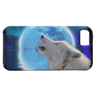 Howling Arctic Wolf & Aurora Wildlife-supporter iPhone SE/5/5s Case