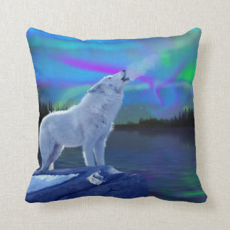 Howling Arctic Wolf & Aurora Wildlife Throw Pillow