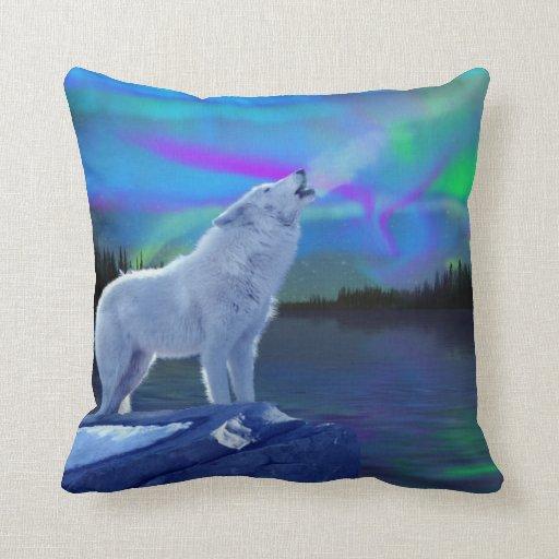 Throw Pillows With Wildlife : Howling Arctic Wolf & Aurora Wildlife Throw Pillow Zazzle