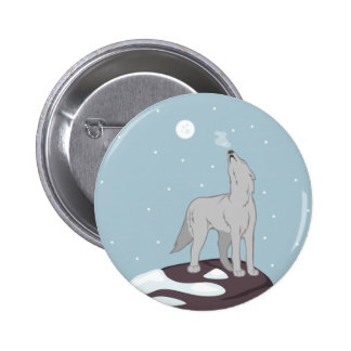 Howling Arctic Wolf Button
