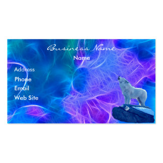 Howling Arctic Wolf Fractal-effect Business Card