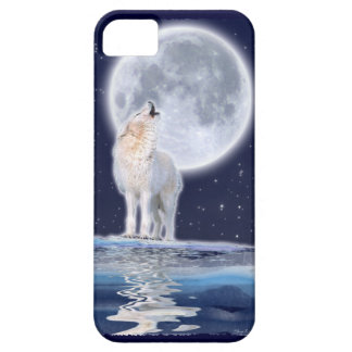 Howling Arctic Wolf Full Moon iPhone 5 Case
