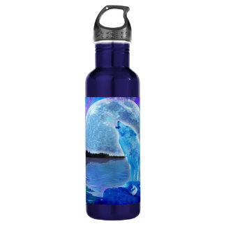 Howling Arctic Wolf & Full Moon Wildlife Photo Stainless Steel Water Bottle