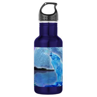 Howling Arctic Wolf & Full Moon Wildlife Photo Water Bottle