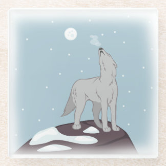 Howling Arctic Wolf Glass Coaster