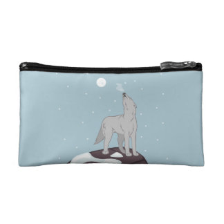 Howling Arctic Wolf Makeup Bag