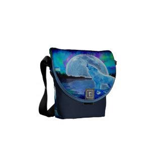 Howling Arctic Wolf, Moon & Aurora Messenger Bag