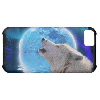 Howling Arctic Wolf, Moon & Aurora Wildlife Art Cover For iPhone 5C