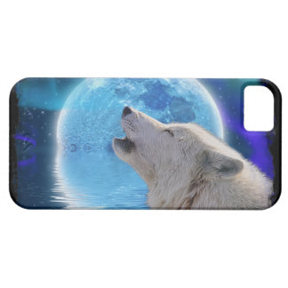 Howling Arctic Wolf, Moon & Aurora Wildlife Art iPhone SE/5/5s Case