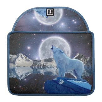 Howling Arctic Wolf & Moon MacBook Flap Sleeve rickshaw_flapsleeve