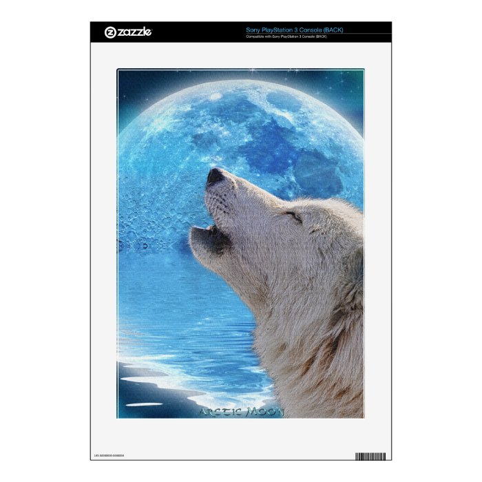 Howling Arctic Wolf & Moon Playstation 3 Skin PS3 Decal