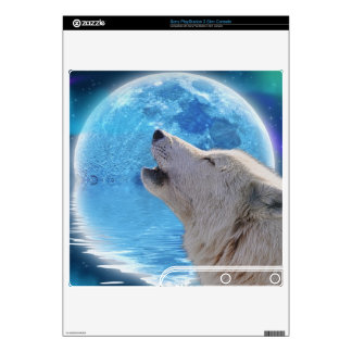 Howling Arctic Wolf & Moon Playstation 3 Skin PS3 Slim Console Decal