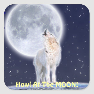Howling ARCTIC WOLF & MOON Stickers