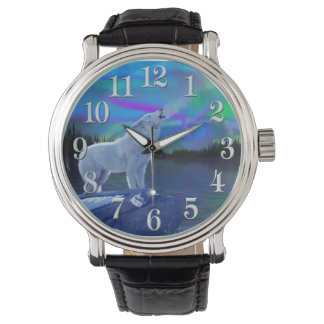 Howling Arctic Wolf & Moon Wildlife Art Wrist Watches