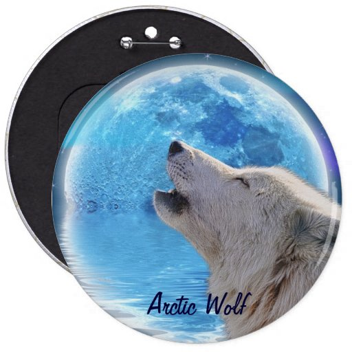 Howling Arctic Wolf & Moon Wildlife Button