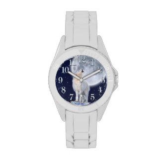 Howling Arctic  Wolf & Moon Wildlife Design Wrist Watches