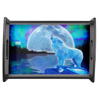 Howling Arctic Wolf & Moon Wildlife Nature Photo Serving Tray