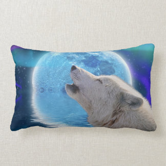 Howling Arctic Wolf & Moon Wildlife Throw Pillow