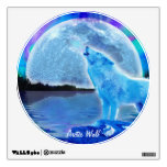 Howling Arctic Wolf & Moon Wildlife Wall Decal
