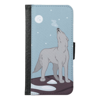 Howling Arctic Wolf Samsung Galaxy S6 Wallet Case