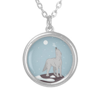 Howling Arctic Wolf Silver Plated Necklace