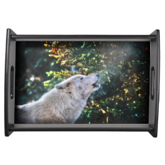 Howling Arctic Wolf Wildlife Nature Photo Serving Tray
