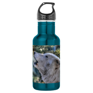 Howling Arctic Wolf & Winter Forest Wildlife Photo Water Bottle